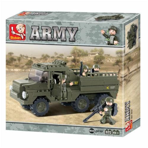 Sluban 301  Heavy Military Truck Building Brick Kit (230 Pcs) Perspective: front