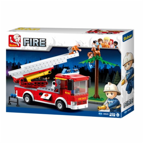 Sluban 625  Fire Truck w/ Aerial Ladder Building Brick Kit (269 Pcs) Perspective: front