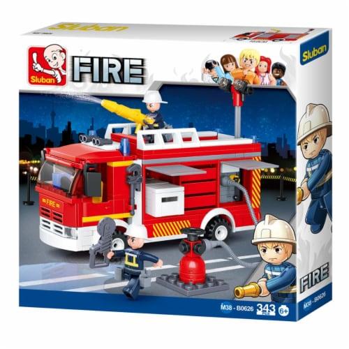 Sluban 626  Fire Truck Water-Tank Building Brick Kit (343 Pcs) Perspective: front