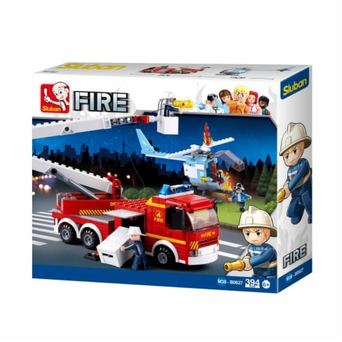 Sluban 627  Fire Truck w/ Cherry Picker Arm + Helicopter Building Brick Kit (394 Pcs) Perspective: front