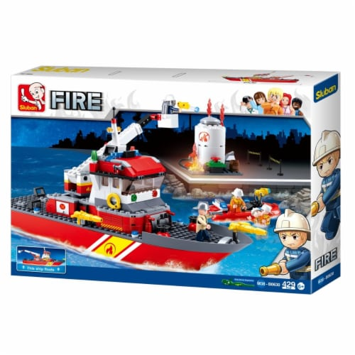 Sluban 630  Fireboat + Oil Tank Building Brick Kit (429 Pcs) Perspective: front