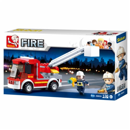 Sluban 632  Small Fire Truck Building Brick Kit (136 Pcs) Perspective: front