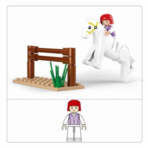 Sluban 517  Girl's Dream Equestrian Building Brick Kit (20 pcs) Perspective: front
