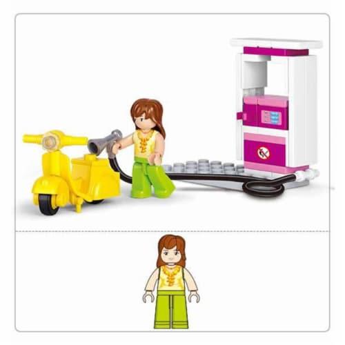 Sluban 518  Girls Dream Gas Station Building Brick Kit (37 pcs) Perspective: front