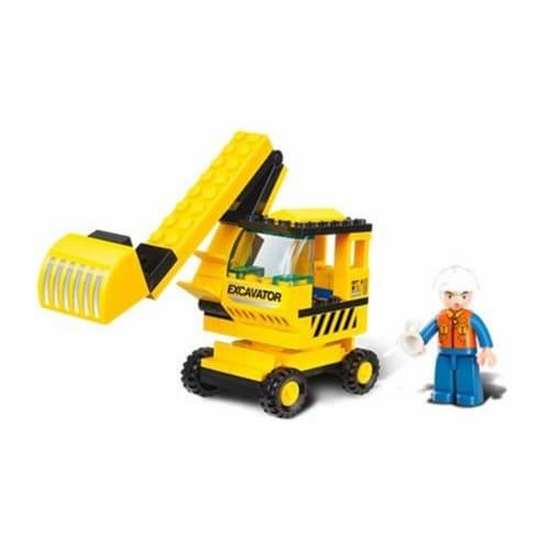 Sluban 176  TOWN - Yellow Excavator Building Brick Kit (62pcs) Perspective: front