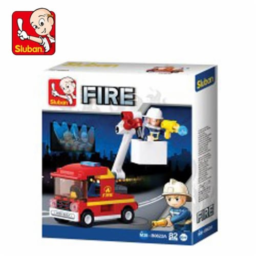 Sluban 667741117291 Small Fire Aerial Ladder Building Brick Kit (82 pcs) Perspective: front
