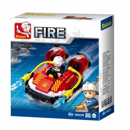 Sluban 667741117307 Small Fireboat Building Brick Kit (86 pcs) Perspective: front