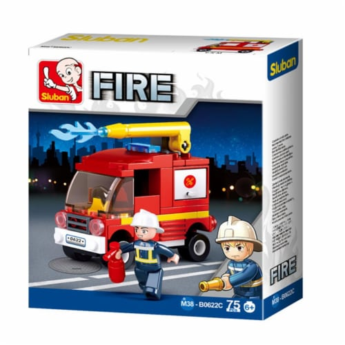 Sluban 667741117314 Small Fire Truck Building Brick Kit (75 pcs) Perspective: front