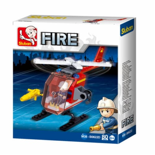 Sluban 667741117321 Small Fire Helicopter Building Brick Kit (80 pcs) Perspective: front