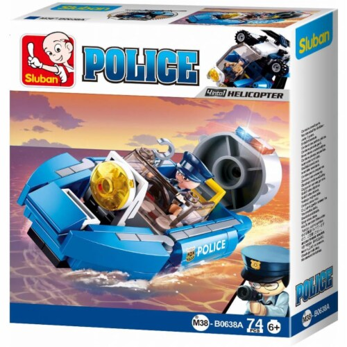 Sluban 667741117338 POLICE 4-in-1 Assault Boat Building Brick Kit (74 Pcs) (Kit A  Collect th Perspective: front