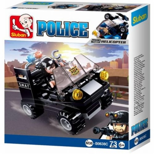 Sluban 638C POLICE 4-in-1 Assault Vehicle Building Brick Kit (73 Pcs) (Kit C  Collect them al Perspective: front