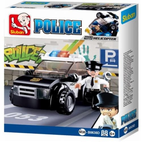 Sluban 638D POLICE 4-in-1-Car Building Brick Kit (88 Pcs)(Kit D  Collect them all!) Perspective: front