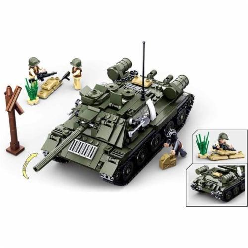 Sluban 689  WWII T-34\85 Medium Tank 2-in-1 Building Brick Kit (687 pcs) Perspective: front