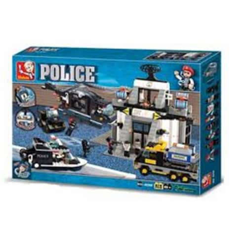Sluban 2300  Riot Police Science and Technology Center Building Brick Kit (876 pcs) Perspective: front