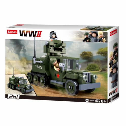 Sluban 685  WWII Gaz Half-Track 2-in-1 Building Brick Kit (243 pcs) Perspective: front