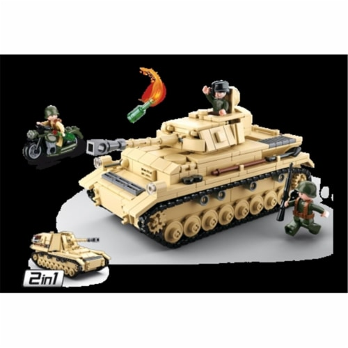Sluban 693  WWII Panzer IV Tank Building Brick Kit (543 pcs) Perspective: front