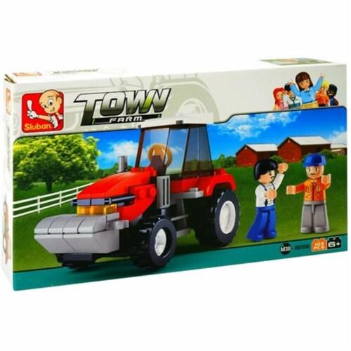 Sluban 556  Farm Farmer Tractor Building Brick Kit (103 pcs) Perspective: front
