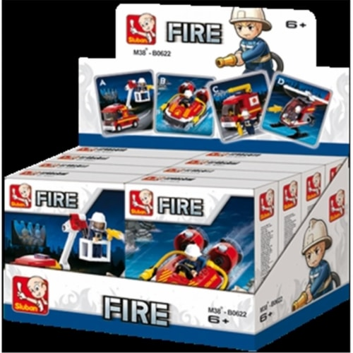 Sluban 622  Fire Boat Truck and more Building Brick Display Set (Kits A-D x2 each) Perspective: front