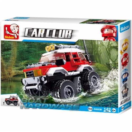 Sluban 667741118083 Car Club Red Offroad Jeep Building Brick Kit (145 pcs) Perspective: front