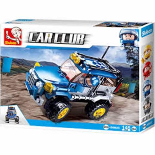 Sluban 667741118090 Car Club Blue Offroad Jeep Building Brick Kit (146 pcs) Perspective: front