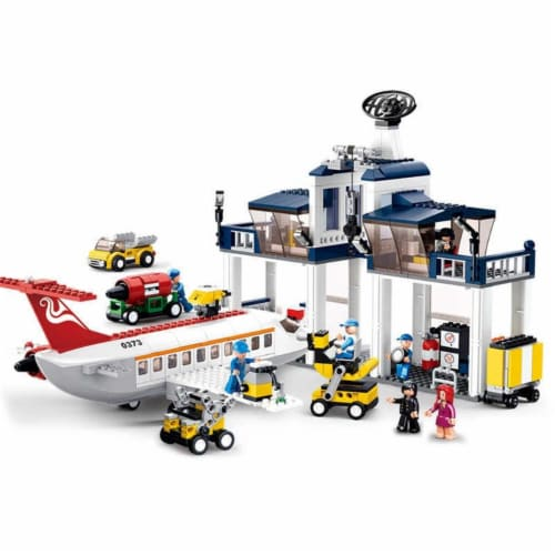 Sluban 373  Aviation Aircraft Maintenance Base Building Brick Kit (826PCS) Perspective: front