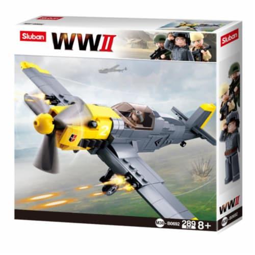 Sluban 692  WWII Messerschmitt BF-109 Bomber Plane Building Brick Kit (289 pcs) Perspective: front