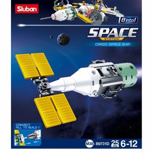 Sluban 731D SPACE - Cargo Space Ship Building Brick Kit (61pcs) Perspective: front
