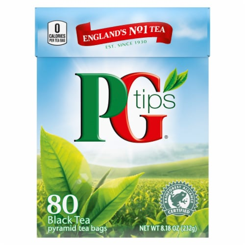PG Tips Black Tea Pyramid Tea Bags 80 Count Perspective: front