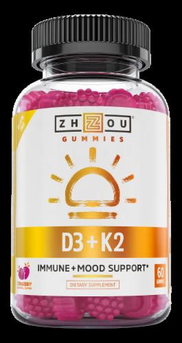Zhou K2 + D3 Strawberry Flavor Gummies Perspective: front