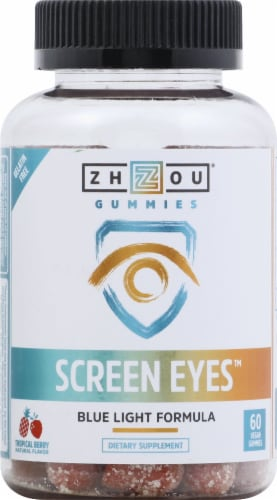 Zhou Screen Eyes Tropical Berry Flavor Blue Light Formula Vegan Gummies Perspective: front