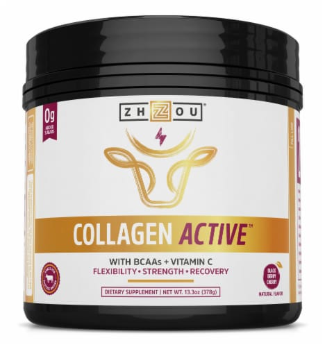 Zhou Collagen Active Black Cherry Flavor Collagen Powder Perspective: front