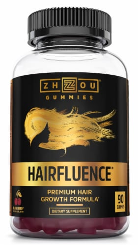 Zhou Hairfluence Hair Growth Formula Dietary Supplement Gummies Perspective: front