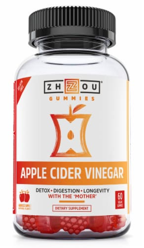 Zhou Apple Cider Vinegar Harvest Apple Flavor Vegan Gummies Perspective: front
