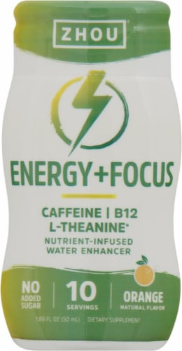 Zhou Energy + Focus Orange Water Enhancer Perspective: front