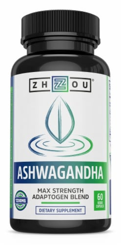 Zhou Ashwagandha Dietary Supplement Veggie Capsules Perspective: front