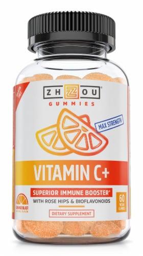 Zhou Vitamin C+ Orange Blast Flavor Gummy Dietary Supplement Perspective: front