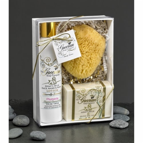 Greciansoap LSS-13 Island Citrus Lotion Soap & Sponge Gift Box Perspective: front