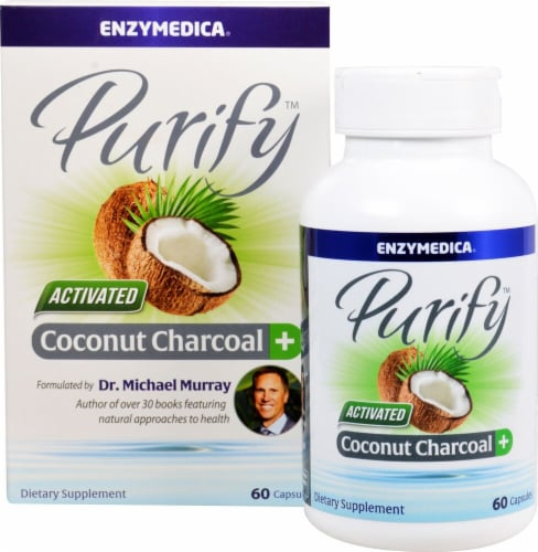 Enzymedica  Purify™ Activated Coconut Charcoal plus Perspective: front