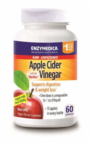 Enzymedica Apple Cider Vinegar Digestion & Weight Loss Capsules Perspective: front