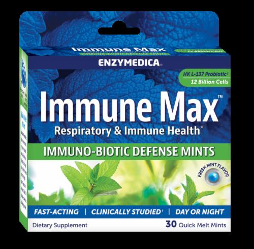 Enzymedica Immune Max Fresh Mint Flavor Immuno-Biotic Defense Quick Melt Mints Perspective: front