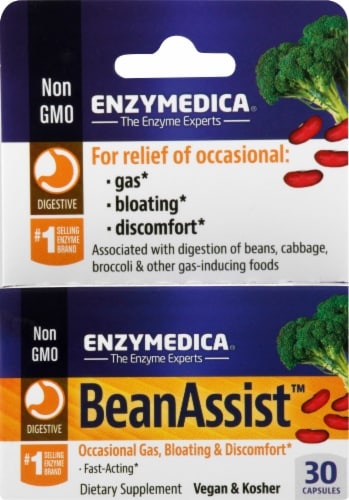 Enzymedica BeanAssist Gas Bloating & Discomfort Dietary Supplement Perspective: front