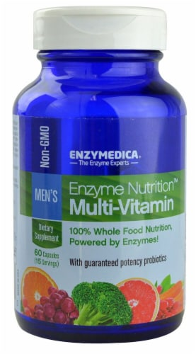 Enzymedica Enzyme Nutrition Men's Multi-Vitamin Capsules Perspective: front