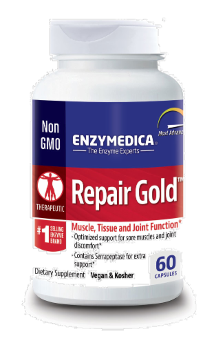 Enzymedica Repair Gold Muscle Tissue & Joint Function Supplement Perspective: front