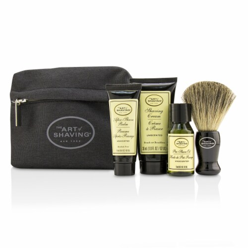 The Art Of Shaving Starter Kit  Unscented: Pre Shave Oil + Shaving Cream + After Shave Balm + Perspective: front