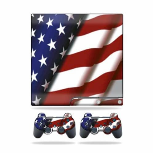 MightySkins PS3SLIM-American Flag Skin for Sony Playstation 3 PS3 Slim Plus 2 Controller - Am Perspective: front