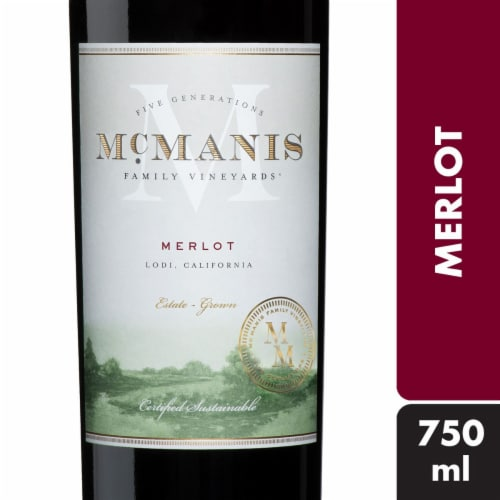 McManis Family Vineyards Merlot Red Wine Perspective: front