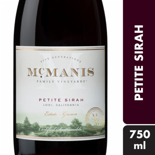 McManis Family Vineyards Petite Sirah Red Wine Perspective: front