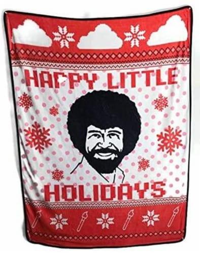 Bob Ross Happy Little Holidays Fleece Softest Throw Blanket Perspective: front