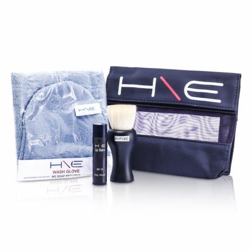Jane Iredale H\E Minerals Kit: Lip Balm SPF 15 + Facial Brush + Wash Glove + Bag 3pcs+1bag Perspective: front