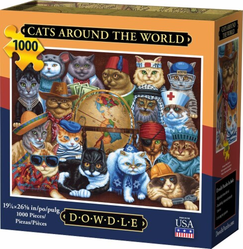 Dowdle Cats Around the World Jigsaw Puzzle Perspective: front